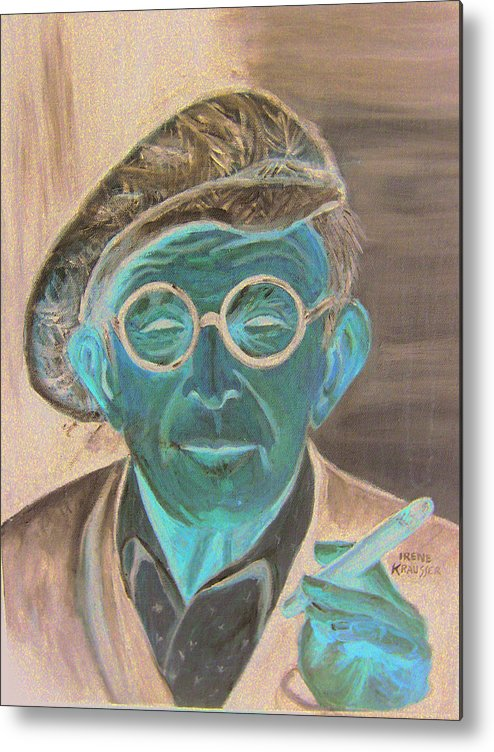 Celebrity Metal Print featuring the painting George Burns by Irene Schilling