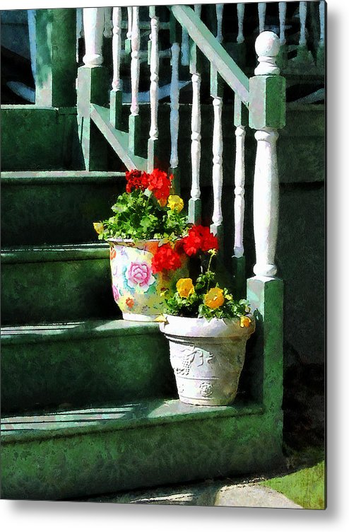 Front Steps Metal Print featuring the photograph Geraniums And Pansies On Steps by Susan Savad