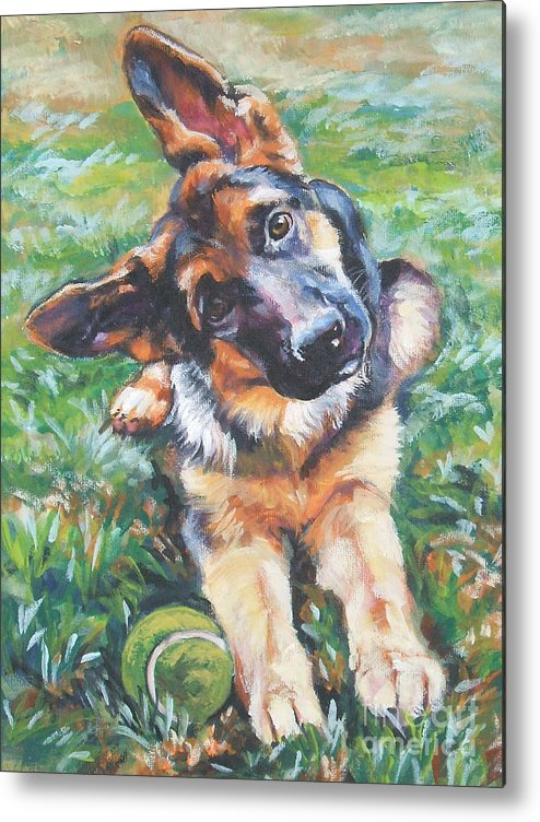 Dog Metal Print featuring the painting German Shepherd Pup With Ball by Lee Ann Shepard