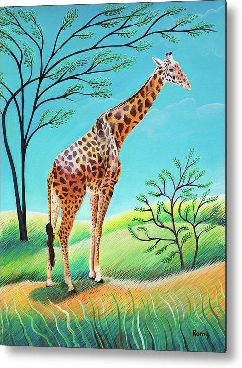 Giraffe Metal Print featuring the painting Giraffe by Romy Muirhead