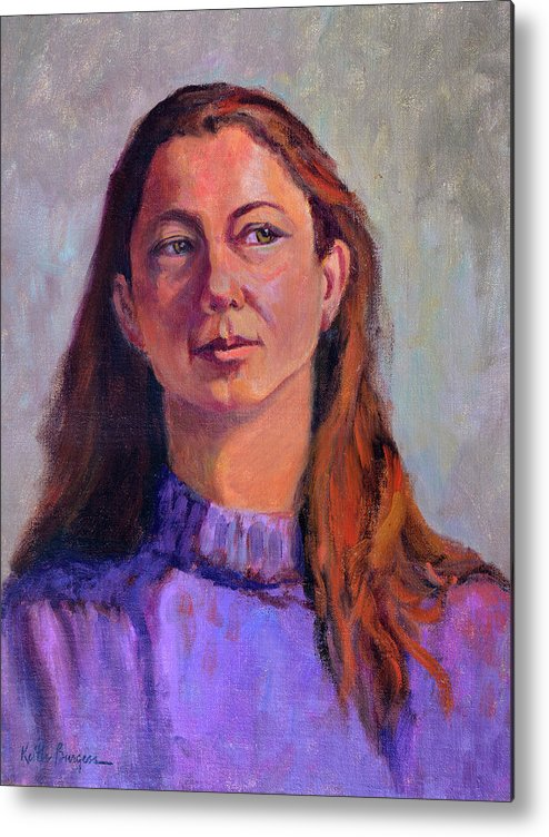 Portrait Metal Print featuring the painting Girl In Purple by Keith Burgess