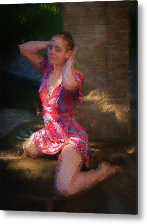Girl Metal Print featuring the painting Girl In The Pool 10 by Mike Penney