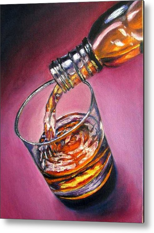 Glass Of Wine Metal Print featuring the painting Glass Of Wine Original Oil Painting by Natalja Picugina