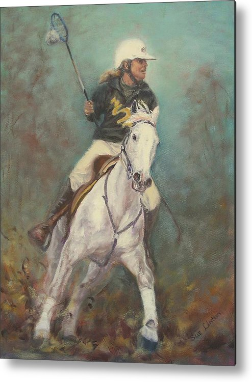 Australian Polocrosse Player On Her Stockhorse Metal Print featuring the painting Going For The Goal by Sue Linton
