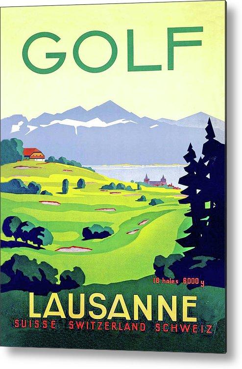 Golf Metal Print featuring the digital art Golf, Lausanne, Switzerland, Travel Poster by Long Shot