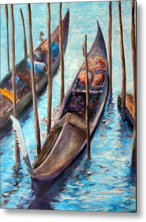 Gondola Metal Print featuring the painting Gondolas by Mike Segura