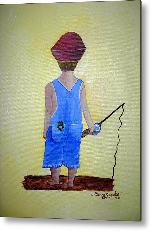 Fishing Metal Print featuring the painting Gone Fishing 2 by Sharon Supplee