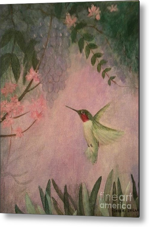 Hummingbird Metal Print featuring the painting Graceful Hummingbird by Jessie Lofland