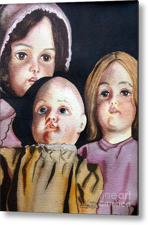 Old Dolls Metal Print featuring the painting Grandma's Dolls by Gail Zavala