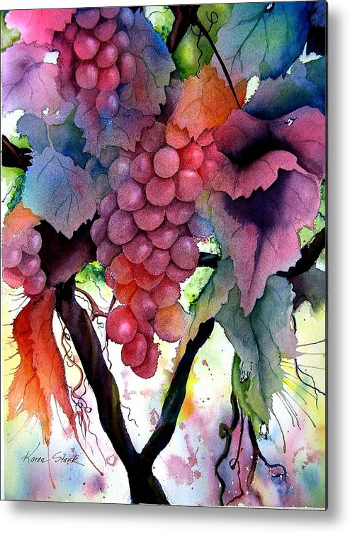 Grape Metal Print featuring the painting Grapes IIi by Karen Stark