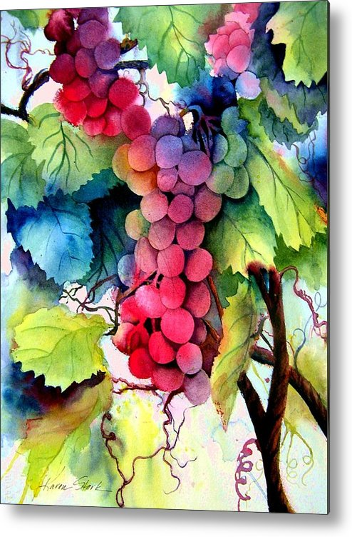 Grapes Metal Print featuring the painting Grapes by Karen Stark