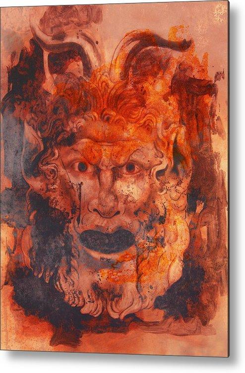Drawing Metal Print featuring the digital art Greek Mask 8 by Tom Durham