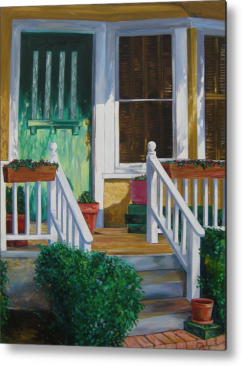 Green Metal Print featuring the painting Green Door by Karen Doyle