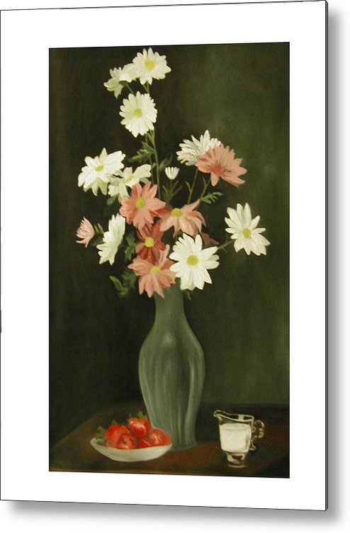 Still Life Metal Print featuring the painting Green Vase With Flowers by Angelo Thomas