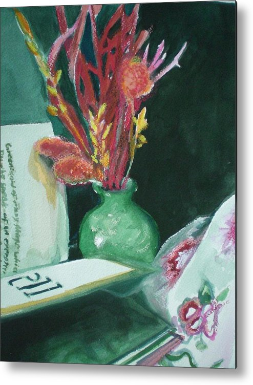 Still Life Metal Print featuring the painting Green Vase With Open Book by Aleksandra Buha