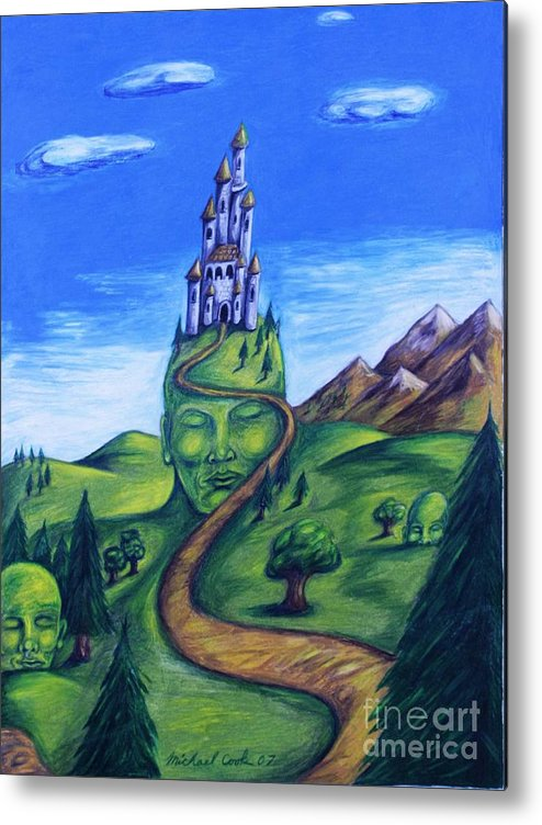 Green Surreal Landscape Castle Metal Print featuring the drawing Summer Home by Michael Cook