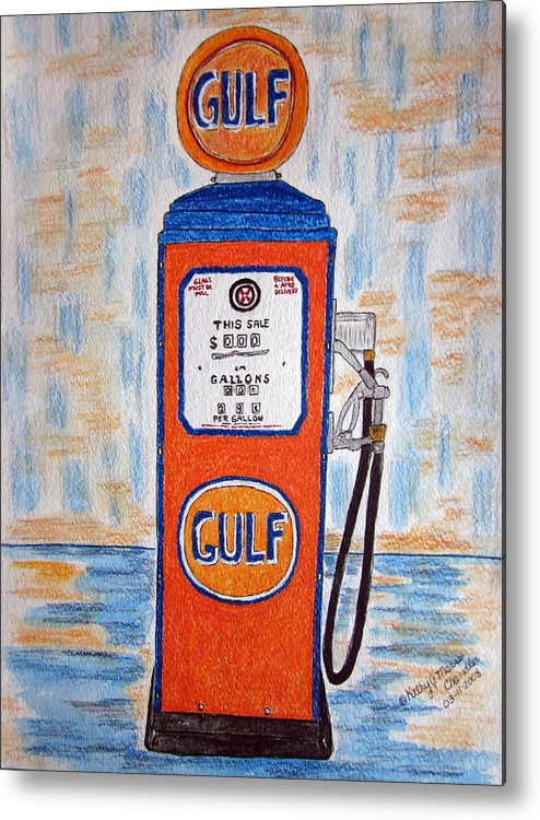 Vintage Metal Print featuring the painting Gulf Gas Pump by Kathy Marrs Chandler