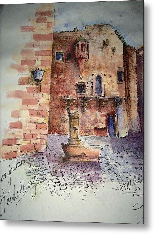 Castle Metal Print featuring the drawing Haidelburg Castle by Samir Saqallah