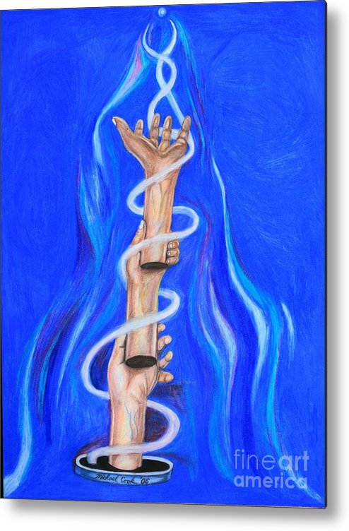 Surreal Hands Metal Print featuring the drawing Hand Guide by Michael Cook
