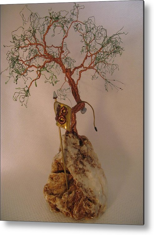 Metal Tree Metal Print featuring the sculpture Hanging It Up by Judy Byington