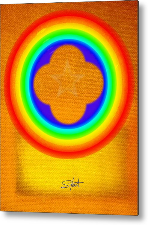 Abstract Metal Print featuring the painting Harvest Gold by Charles Stuart