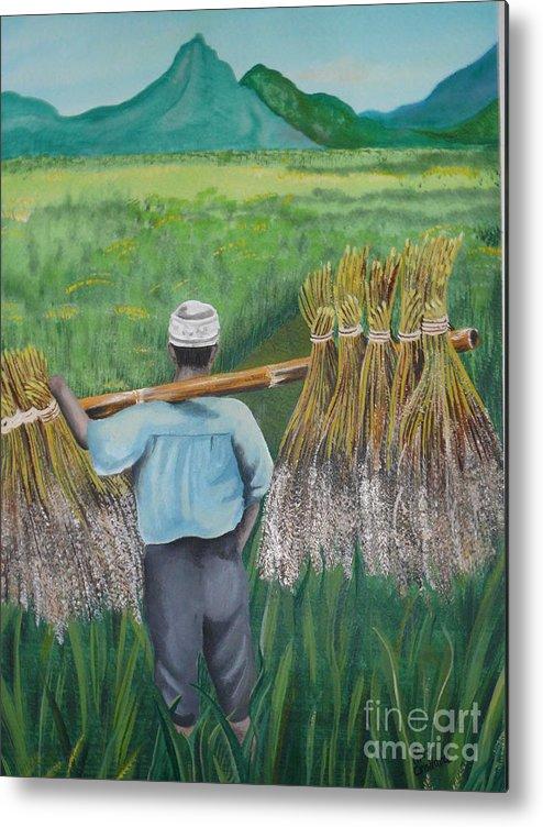 Landscape Metal Print featuring the painting Harvest by Kris Crollard