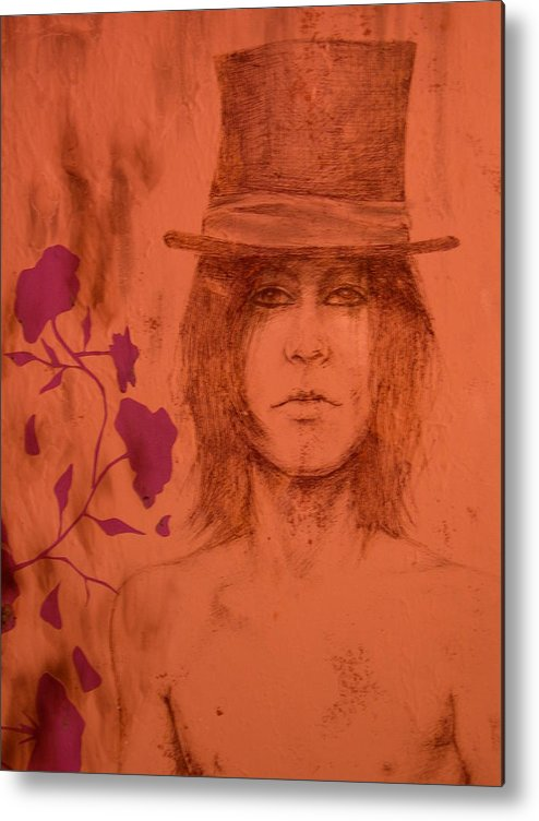 Hat Metal Print featuring the drawing Hat Boy by J Oriel
