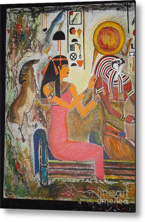 Hathor Metal Print featuring the mixed media Hathor And Horus by Prasenjit Dhar
