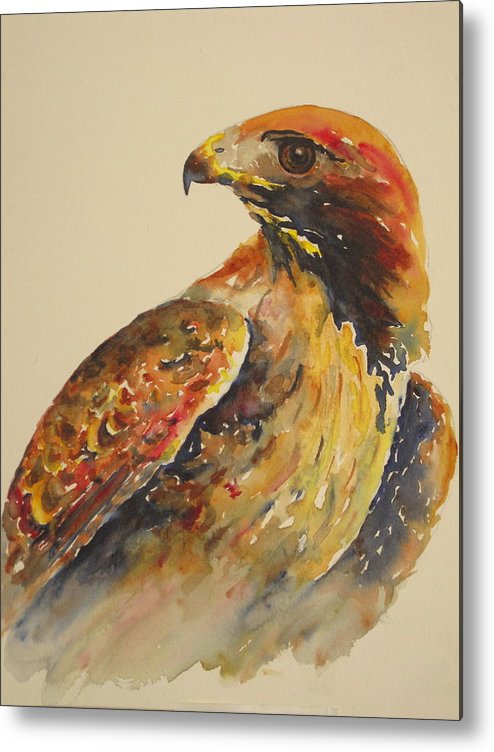 Hawk Metal Print featuring the painting Hawk Messenger by Corynne Hilbert