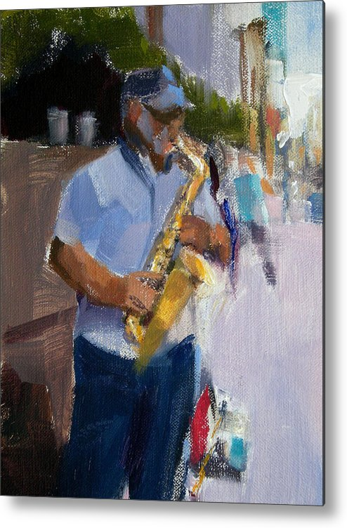 Musicians Metal Print featuring the painting He Was Playing Real Good For Free by Merle Keller