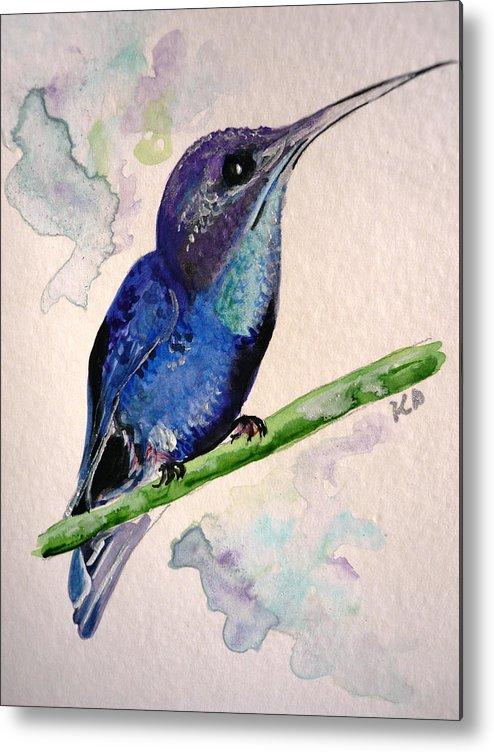 Hummingbird Painting Bird Painting Tropical Caribbean Painting Watercolor Painting Metal Print featuring the painting hHUMMINGBIRD 2  by Karin Dawn Kelshall- Best