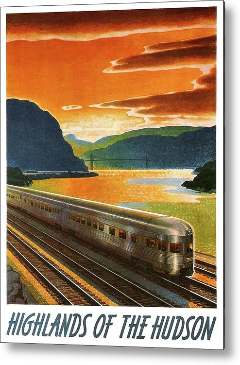 Highlands Metal Print featuring the painting Highlands Of Hudson, Railway, Train by Long Shot