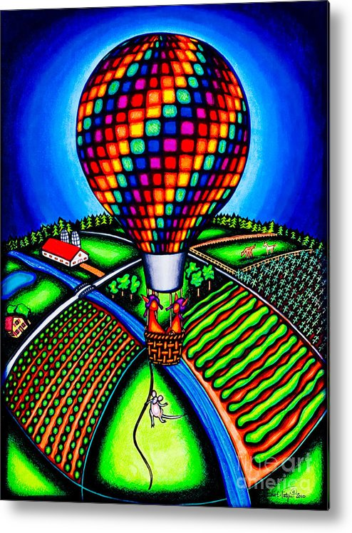 Balloons Metal Print featuring the drawing Hot Air Kats by Laurie Tietjen