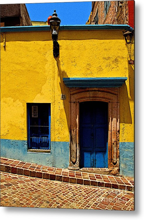 Darian Day Metal Print featuring the photograph House In Yellow And Blue by Mexicolors Art Photography
