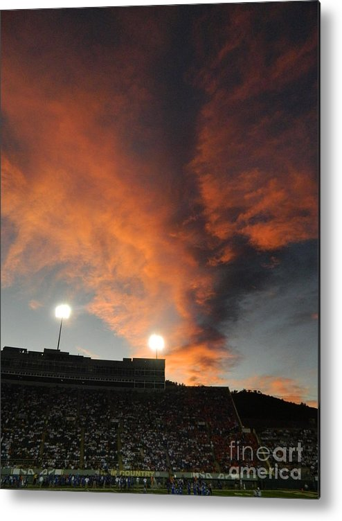 Fort Collins Metal Print featuring the photograph Hughes Stadium Sunset by Sara Mayer