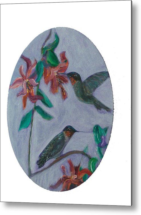 Humming Birds Metal Print featuring the painting Humming Birds by Mikki Alhart