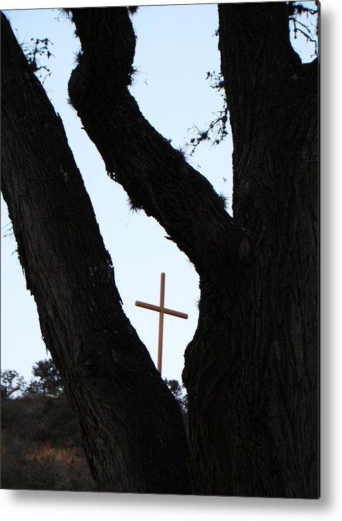 Cross Metal Print featuring the photograph Hwy 87 Cross One by Ana Villaronga