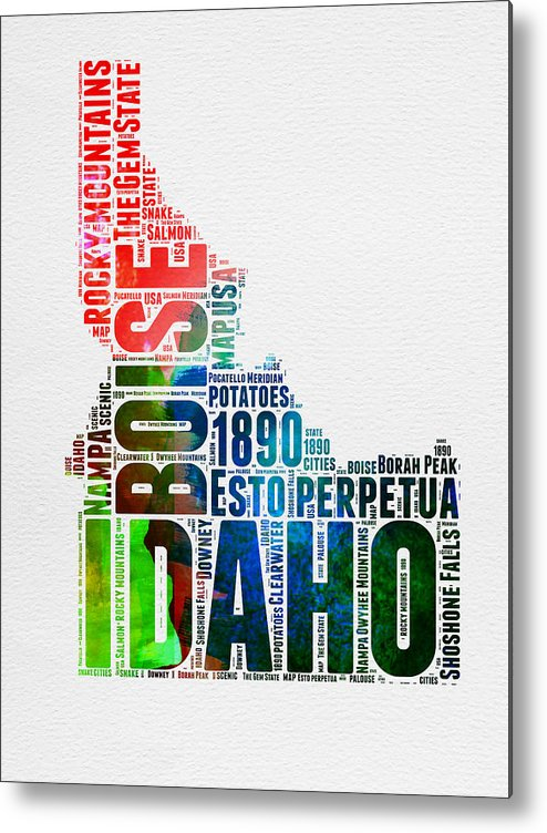 Idaho Metal Print featuring the digital art Idaho Watercolor Word Cloud by Naxart Studio