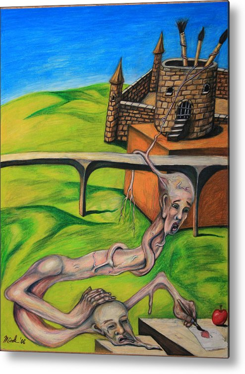 Surreal Conjoined Twins Landscape Metal Print featuring the drawing If I Can See It I Can Draw It by Michael Cook