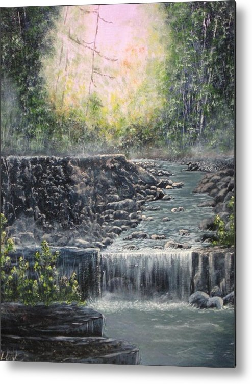 Landscape Metal Print featuring the painting In The Beginning by Sheila Banga