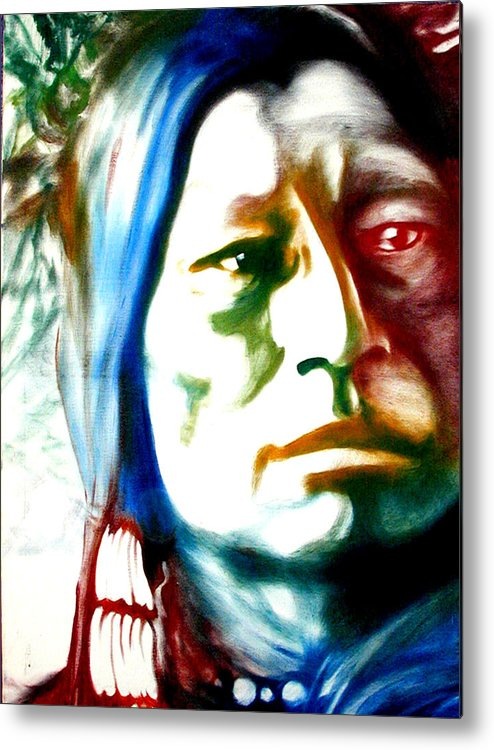 Portrait Metal Print featuring the painting Indian 1 by Scott Robinson