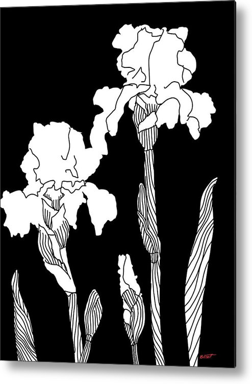 Iris Metal Print featuring the digital art Iris Notan by Robert Bissett