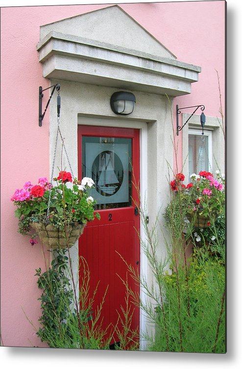 Door Metal Print featuring the photograph Pink Irish Home by Tiziana Verso