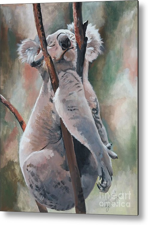 Koala Bear Metal Print featuring the painting Its About Trust - Koala Bear by Suzanne Schaefer