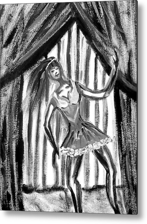 Dance Metal Print featuring the painting Jazz Dancer In Black And White by BJ Abrams