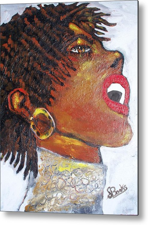 Jazz Singer Metal Print featuring the painting Jazz Singer Jade by Samuel Banks