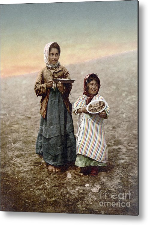 1900 Metal Print featuring the photograph Jerusalem Girls, C1900 by Granger
