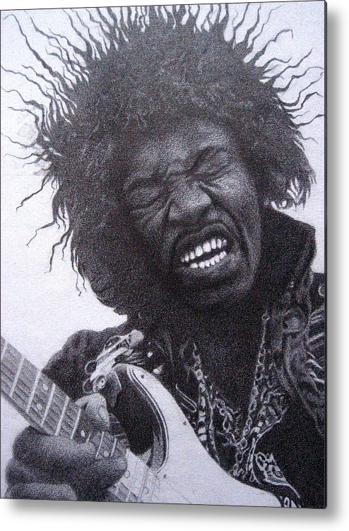 Jimi Hendrix Metal Print featuring the drawing Jimi Hendrix Drawing by Lana Cheng