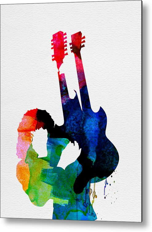 Jimmy Page Metal Print featuring the painting Jimmy Watercolor by Naxart Studio
