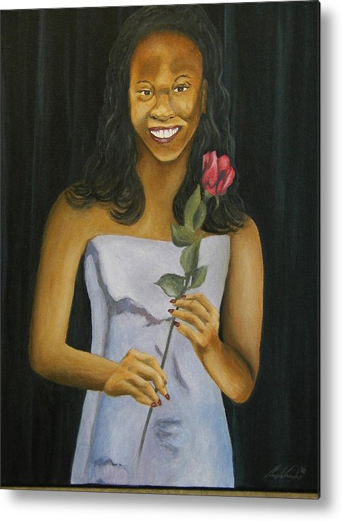 Portrait Metal Print featuring the painting Joell by Angelo Thomas